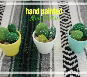 hand painted mini cactus, crafts, how to, repurposing upcycling