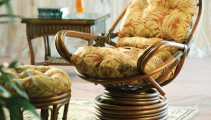 Rattan Swivel Rocker And Ottoman