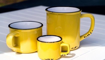 Enamel Look Ceramic Coffee Mugs